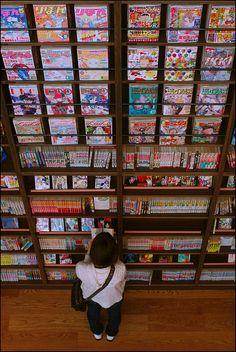 Reading Manga @ the Manga Museum in Kyoto, Japan