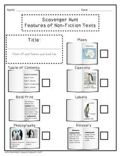 FREE Non-fiction Text Features packet. This packet includes everything your PRIMARY students will need to learn about text features. There is a scavenger hunt worksheet, for use with ANY non-fiction book, with picture cues for each non-fiction text feature. There is also a cut and paste activity so your students can make their own text feature posters.