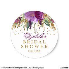 Floral Glitter Amethyst Bridal Shower Sticker