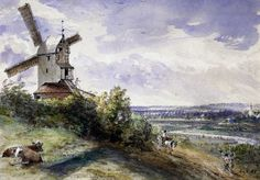 'A Windmill at Stoke by Nayland, Near Ipswich Suffolk by John Constable (Photo by © Historical Picture Archive/CORBIS/Corbis via Getty Images)' John Constable Paintings, Ipswich Suffolk, English Romantic, Cultura General, Pen And Watercolor, Le Moulin, Historical Pictures, Art Pictures, Art Pics
