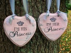"FAIRYTALE Wedding Signs PINK ""Ready to Ship"" Princess & Prince Wedding Chair Signs with Pearls Crystals and Crown"