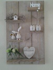Steigerhout wanddecoratie/ rek/ boekenrek.
