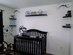 Our Baby Boy's Nursery  Black and white