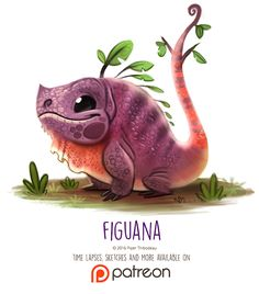 Day 1410. Figuana by Cryptid-Creations Time-lapse, high-res and WIP sketches of my art available on Patreon (:Twitter • Facebook • Instagram • DeviantART