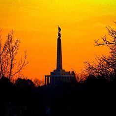 """#slavin #memorial #bratislava #city #slovakia #sun #sunset #shadow #shadow #beautiful #history #trees #visit #europe #travel #traveler #icon #iconic…"""
