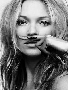 Kate Moss poster, 'Life is a joke, Mustache'. Photography created by the famous fashion photographer Craig McDean. Kate Moss, Classic Photography, White Photography, Fashion Photography, Craig Mcdean, Poster Shop, Poster Prints, Art Prints, Poster Poster