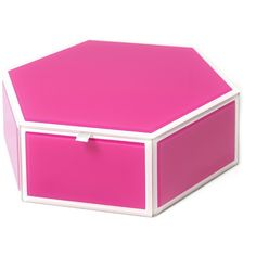 SWING Mia Large Pink Glass Hexagon Storage Box ($16) ❤ liked on Polyvore featuring home, home decor, small item storage, pink, pink storage boxes, pink home decor, divided storage box, hinged lid storage box and colored storage boxes