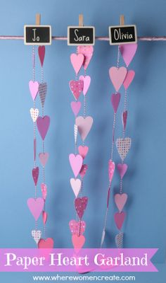 Paper Heart Garland idea using @Sizzix. #Sizzix #project #garland #hearts #valentines #DIY #craft