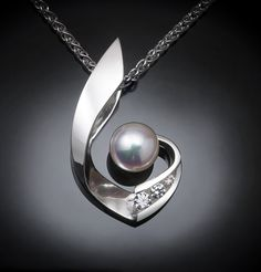 Argentium silver and Akoya cultured pearl pendant designed by David Worcester for VerbenaPlaceJewelry.Etsy.com