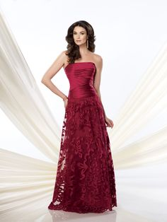 Strapless mock two-piece satin and tulle A-line dress with directionally pleated bodice and cut-out tulle skirt gathered at natural waist, suitable for the mother of the bride or the mother of the groom. Matching shawl and removable straps included. As show in Red: Embellish by David Tutera ring style Hadley, earring style Gia and bracelet style [...]