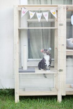 If you want your Kitty to get some fresh air but you want him/her to be nice and safe…you need to drop by Cuteness and check out this IKEA Hack Shelf Catio! You will need Two Henjne Shelves…some 1X3's some chicken wire and a few other supplies…by the end of the day your Kitty will be enjoying the fresh air!