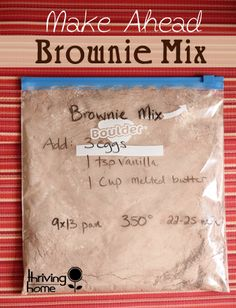 To die for homemade brownie mix. Double or triple the batch and have on hand for a quick dessert!