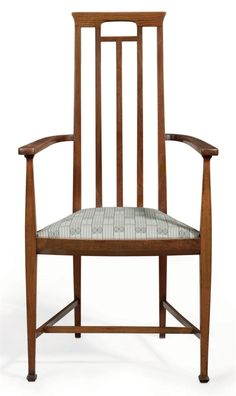 JOSEPH MARIA OLBRICH (1867-1908) An Oak Armchair, circa 1899 with textile upholstered seat 42¾ in. (108.5 cm.) high leg impressed B39
