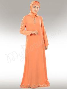 Beautiful Orange Party Wear Basheera #Abaya|#MyBatua.com Style No : AY-300 Price : $72.20 Available Sizes XS to 7XL