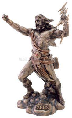 11 Inch God of Gods Zeus Fighting Statue Greek Figurine Figure King Lightning