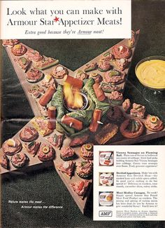 "Vienna Sausages On Flaming Ball.  ""Guests roast sausages over flame.  Truly gourmet appetizers!""  And that's not all.  We also have Deviled Appetizers and (last but not least) Meat Medley Canapés made with ""Armour Star Potted Meat Product.""  (Family Circle, 1952)"