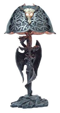 Dragon and Gothic Blade Lamp with Celtic Lampshade