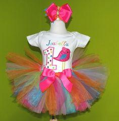 #MC Pink Rainbow Little Birdie Birthday Girls Tutu Outfit by PoshBabyStore.com