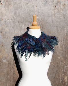Felted collar neck warmers felted necklace felted wool by AnnaWegg