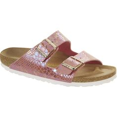 Birkenstock Women's Arizona Sandals ($91) ❤ liked on Polyvore featuring shoes, sandals, rose, arch support sandals, python sandals, arch support shoes, lightweight shoes and rose shoes