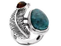 Southwest Style By Jtv(Tm) 16x12mm Fancy Cabochon Turquoise With Amber Sterling Silver Feather Ring