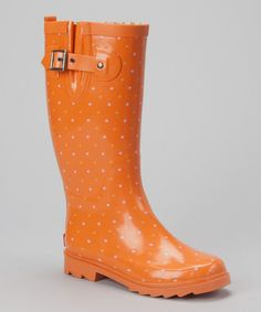 Take a look at this Chooka Orange Classic Dot Rain Boot on zulily today!