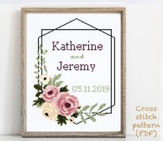 Wedding Cross Stitch Patterns, Funny Cross Stitch Patterns, Cross Stitching, Cross Stitch Embroidery, Print Patterns, Pattern Designs, Alphabet And Numbers, Wedding Gifts, Etsy