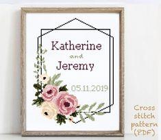 Wedding Cross Stitch Patterns, Modern Cross Stitch Patterns, Alphabet And Numbers, Cross Stitching, Print Patterns, Pattern Design, Wedding Gifts, Floral Wreath, Quilting