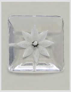Vintage Clear and Carved Square Button