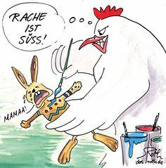 Osterhasen Cartoon. Naheliegend und fies.