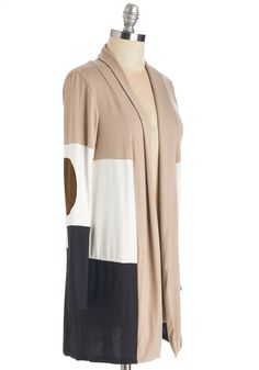 Patch My Drift? Cardigan in Latte. Drop a not-so-subtle hint about your enviable style by sporting this colorblocked cardigan. #multi #modcloth
