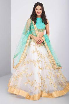 THE PEACH PROJECT blue and ivory embroidered lehenga #Flyrobe #Bride #Wedding #Lehenga #IndianWedding #designer #designerlehenga #lehengacholi