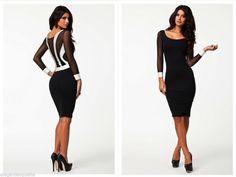293b36cea Sexy Elegant Hot Black   White Women s Evening Party Clubbing Dress 8-10    10