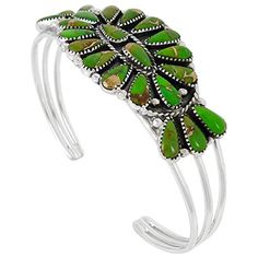 925 Sterling Silver Bracelet with Genuine Green Turquoise Southwest Style Jewelry (Average Size Wrists) -- For more information, visit image link.