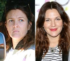 Stars Without Makeup: Drew Barrymore-somehow make-up makes a difference