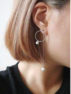 Front circle pearl and Back long chian Earrings, long chain earrings,Pearl Ear Jackets,