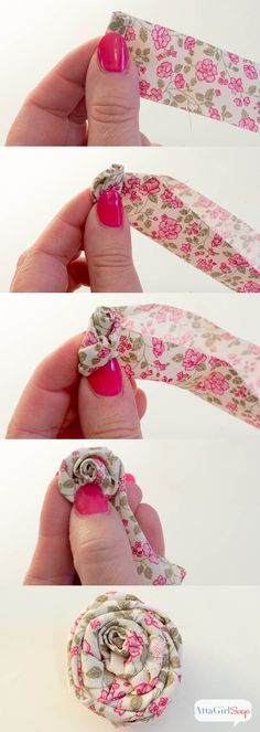 Sewing Fabric Flowers Step-by-step instructions for making rolled fabric flowers from Atta Girl Says: - Make your own embellished flower flip flops to match every outfit. All you need is some scrap fabric, glue and cheap flip flops. Rolled Fabric Flowers, Fabric Rosette, Fabric Brooch, Fabric Flower Tutorial, Cloth Flowers, Burlap Flowers, Fabric Ribbon, Diy Flowers, Bow Tutorial
