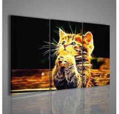 Eccezionale stampa su tela di gradevole effetto visivo con soggetto un gattino stilizzato nei contorni con effetto fiamme di fuoco. Un quadro ideale per uffici e salotti, ma anche per camerette.