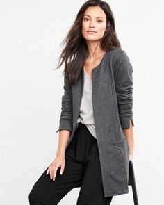 Ready for the coffee shop or the couch, our everyday jacket is a dressed-up version of your favorite sweatshirt. Recast in organic cotton French terry (brushed for softness), it still has everything you love about the original: an open front, patch pockets, and a flattering length. Relaxed fitCollarless Long sleeves with slits at cuffs for roll-up easeOpen frontPatch pocketsTunic lengthAbove-knee lengthOrganic cotton/spandexImported