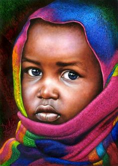 20 Beautiful African Children Paintings By Dora Alis - Fine Art and You - Painting African American Artist, African Artists, Painting For Kids, Art For Kids, Children Painting, Arte Black, Afrique Art, Hyper Realistic Paintings, Foto Poster