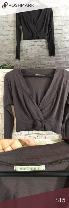 Velvet brown bolero cropped cardigan In good condition, cotton  crop cardigan. Long sleeve, size M Velvet Tops