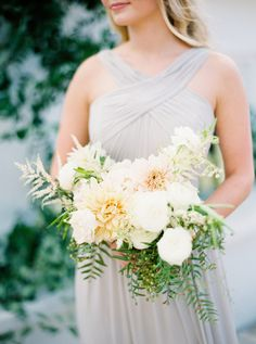 Neutral + Elegant Outdoor Wedding Inspiration – Style Me Pretty Dahlia Wedding Bouquets, Dahlia Bouquet, Bridal Flowers, Bridesmaid Bouquet, Bridesmaids, Flower Bouquets, Flower Crowns, Bridal Bouquets, Bridesmaid Dresses