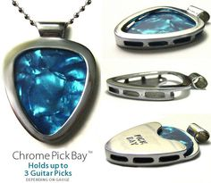Not exactly hiding whats inside, this pendant can carry up to 3 guitar picks. Only those who know, will realize, what this piece of jewelry actually is.  It does of cause require some color coordination skills ;-)