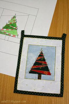 """всякие всякости...: Новогодняя гирлянда в технике """"paper piecing"""". Флажок восьмой"""