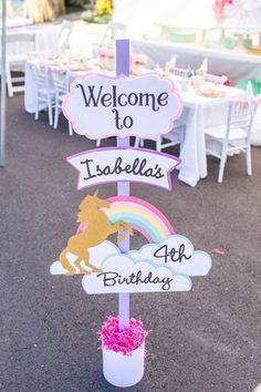 Rainbow unicorn welcome sign from a Magical Unicorn Birthday Party on Kara's Party Ideas | KarasPartyIdeas.com (31)