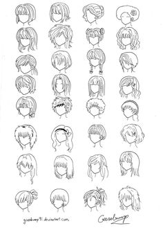 How to Draw Anime Hair | 32_anime_and_manga_hair_styles_by_goosebump91-d3c66ut