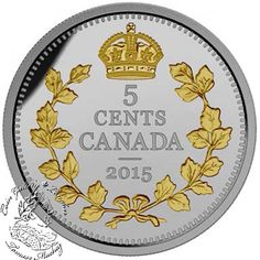 Coin Gallery London Store - Canada: 2015 5 Cent Legacy of the Canadian Nickel The Crossed Maple Boughs Silver Coin, $109.95