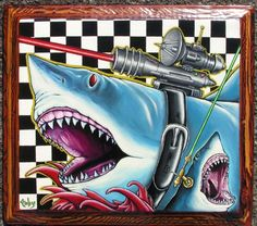 toby stanger. Sharks with frik'n laser beams | 350 | For Sale 14x16 acrylic on found wood panel | 2009,, Not an ill tempered sea bass.