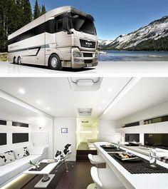 Travel Trailers: Luxury Motorhomes, Campers & Caravans - Busyboo - Page 2 Bus Camper, Rv Bus, Campers, Luxury Motorhomes, Rv Motorhomes, Luxury Mobile Homes, Cool Rvs, Luxury Bus, Motorcycle Camping