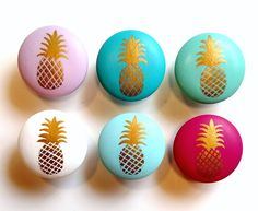 gold pineapple drawer knobs by Kellie Fay, VioletValeDesigns etsy Pineapple Room Decor, Pineapple Kitchen, Cute Pineapple, Gold Pineapple, Pineapple Decorations, Drawer Knobs, Drawer Pulls, Annie Sloan, Light Garland